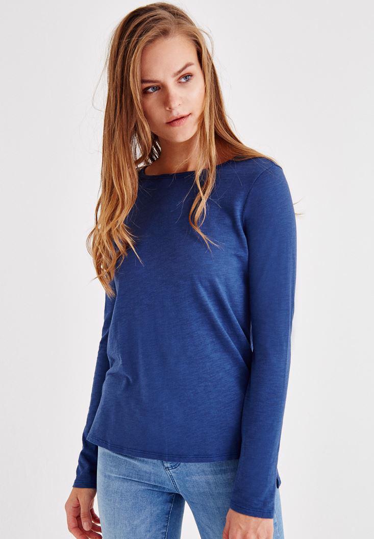 Bayan Mavi Uzun Kollu Yanları Yırtmaçlı Tişört