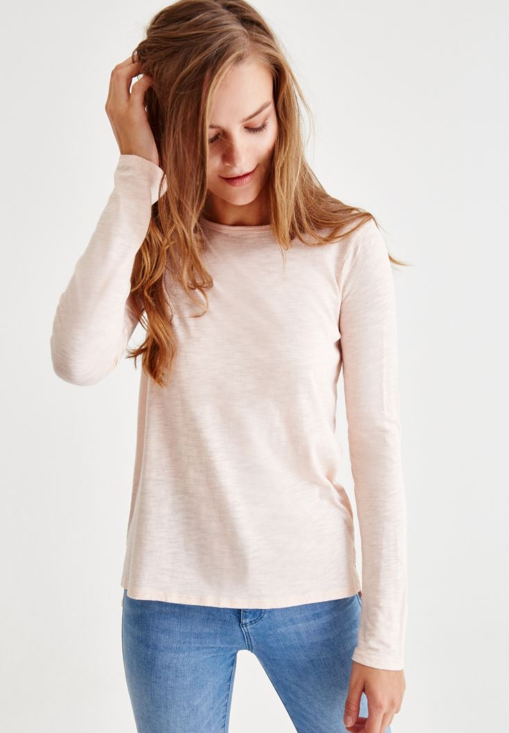Pink Long Sleeve T-Shirt With Side Detail