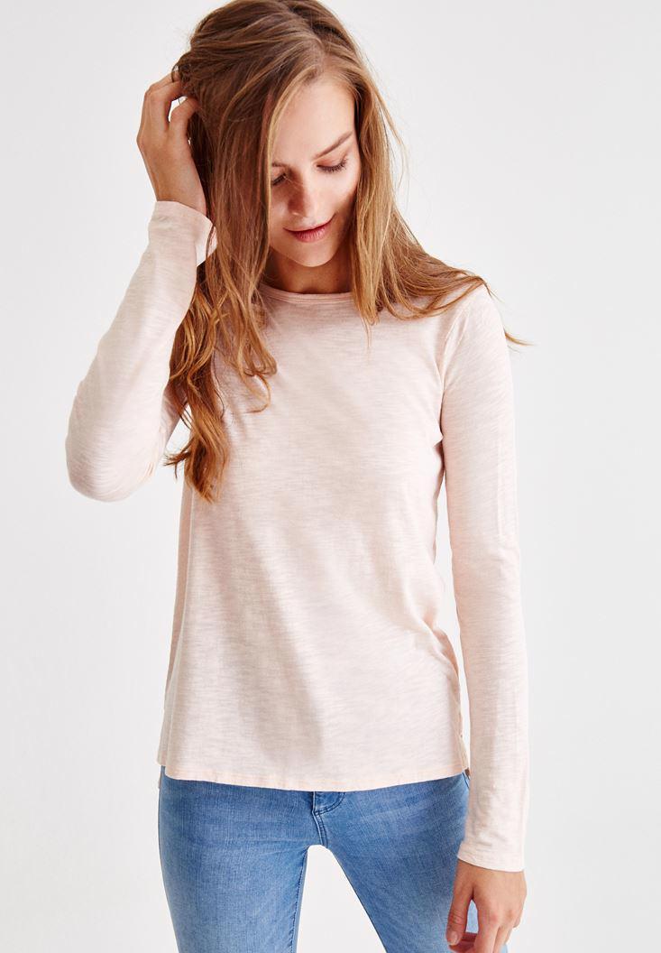 Bayan Pembe Uzun Kollu Yanları Yırtmaçlı Tişört