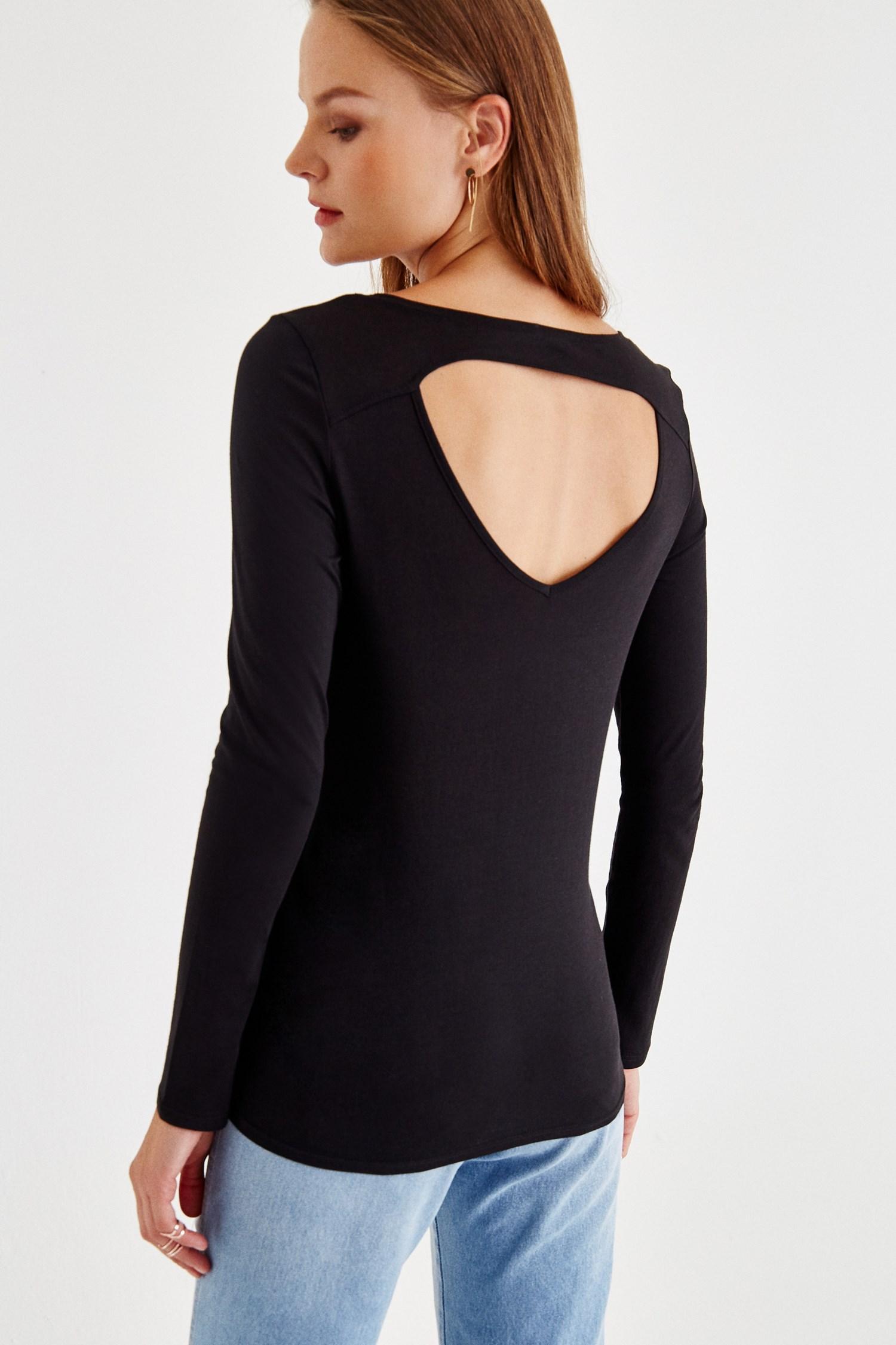 Bayan Siyah Sırt Detaylı Uzun Kollu Bluz