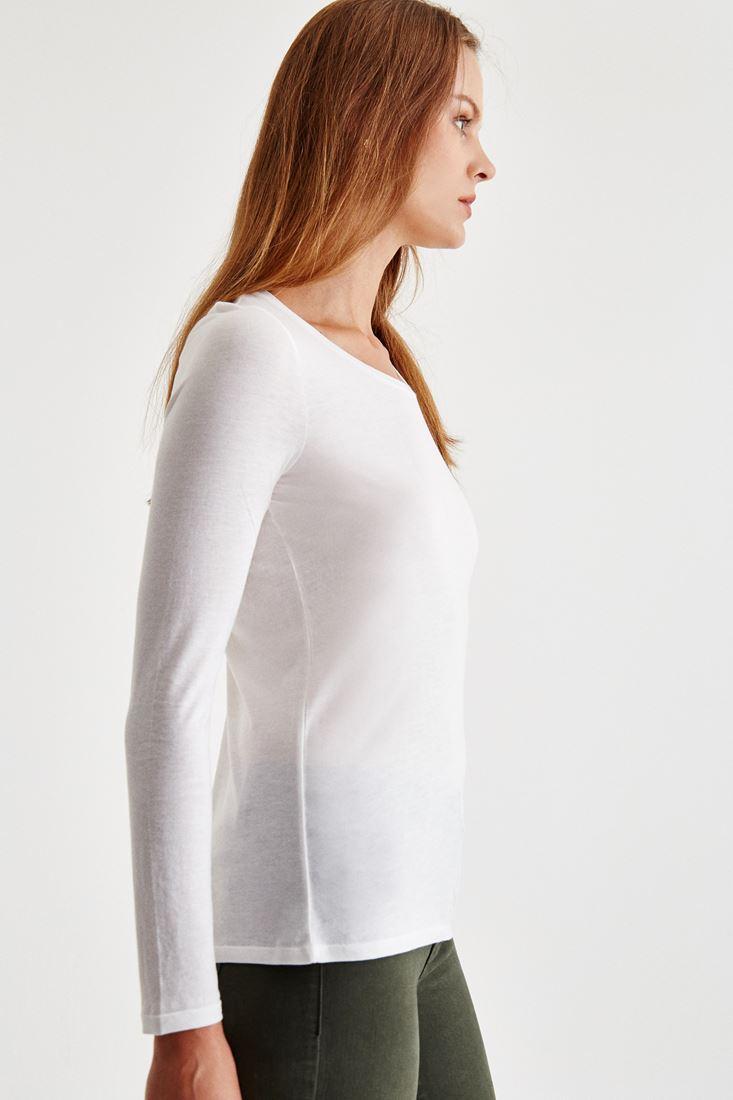 Bayan Krem Sırt Detaylı Uzun Kollu Bluz