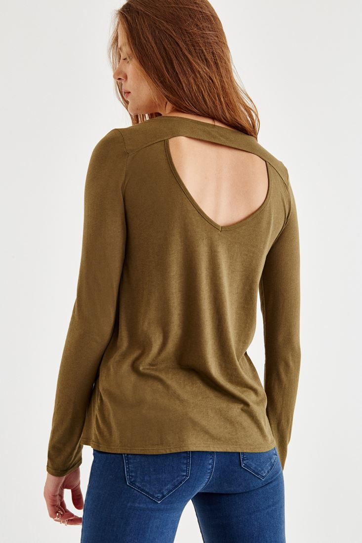 Yeşil Sırt Detaylı Uzun Kollu Bluz