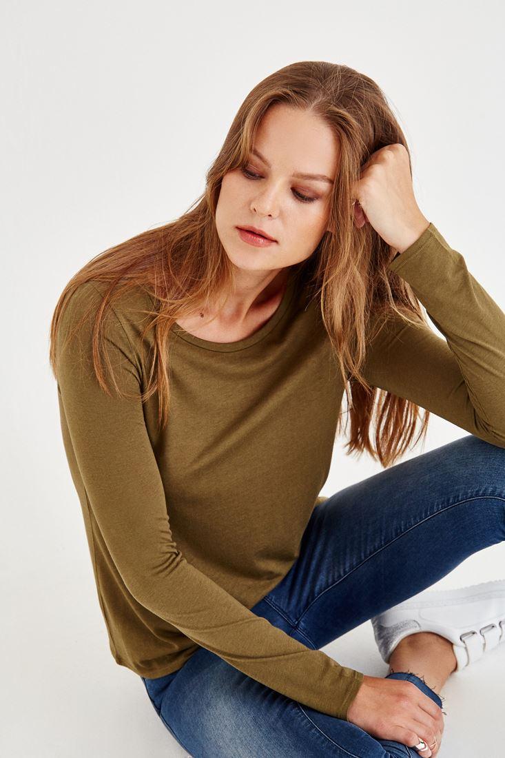 Bayan Yeşil Sırt Detaylı Uzun Kollu Bluz