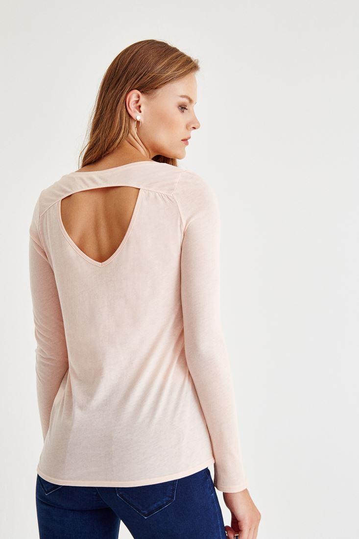 Bayan Pembe Sırt Detaylı Uzun Kollu Bluz