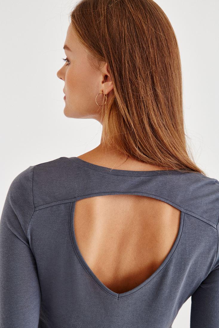 Siyah Sırt Detaylı Uzun Kollu Bluz
