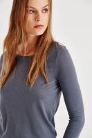 Bayan Gri Sırt Detaylı Uzun Kollu Bluz