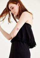Bayan Siyah Straplez Uzun Elbise