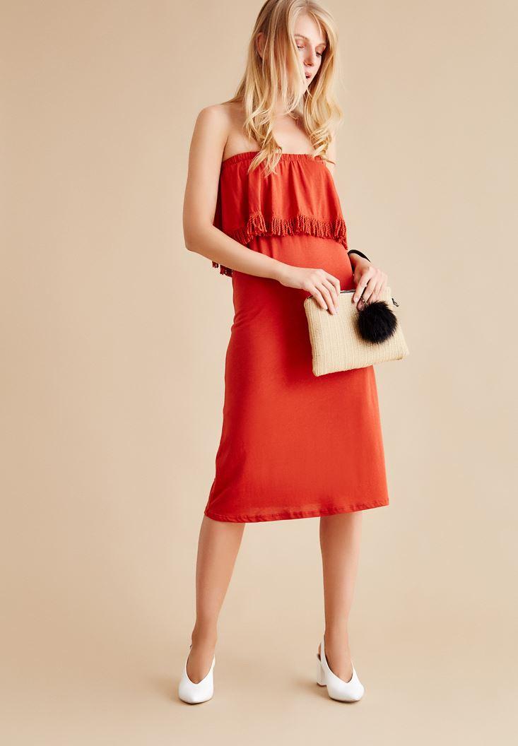 Kırmızı Straplez Uzun Elbise