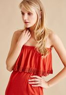 Bayan Kırmızı Straplez Uzun Elbise