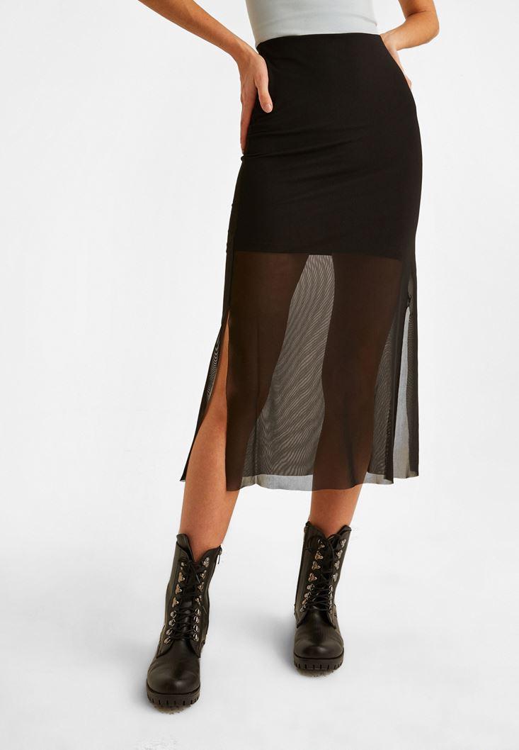 Black Tulle Detailed Skirt