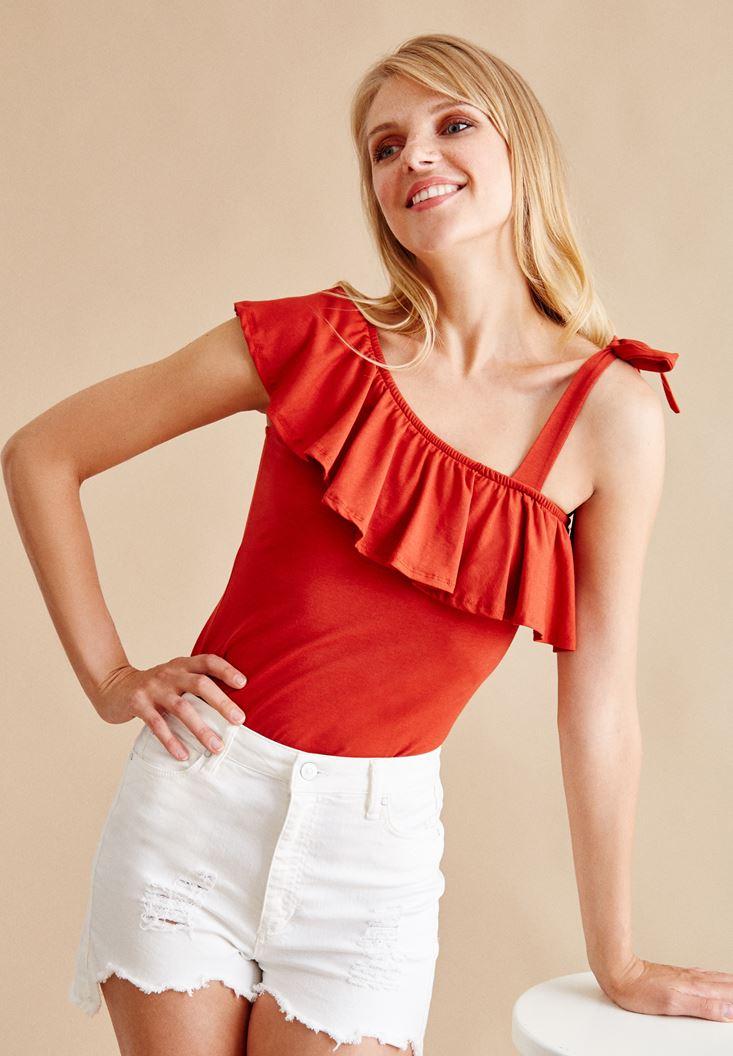 Kırmızı Tek Askılı Fırfırlı Bluz