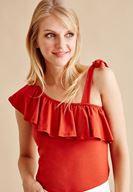 Bayan Kırmızı Tek Askılı Fırfırlı Bluz