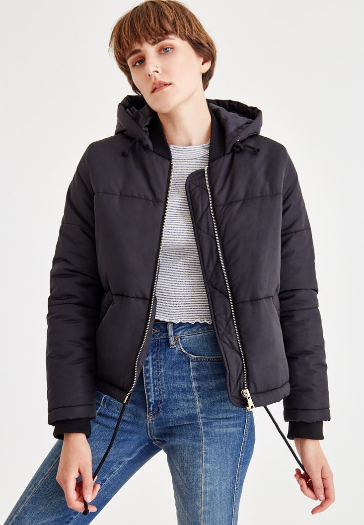 Black Quilted Jacket With Hood
