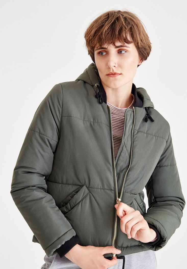 Green Quilted Jacket With Hood