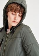 Women Green Quilted Jacket With Hood