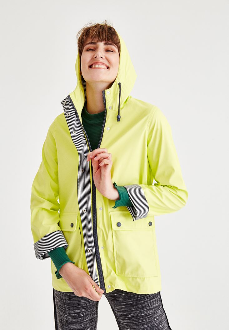 Green Raincoat With Hood