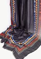 Bayan Siyah Kenarları İp Detaylı Şal