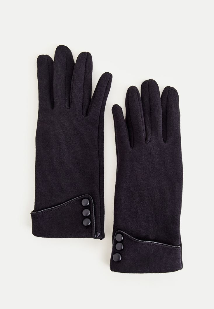 Black Gloves With Buttons