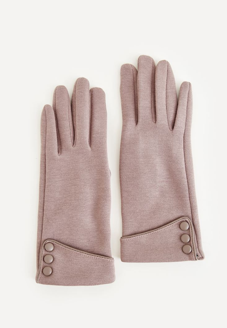 Cream Gloves With Buttons