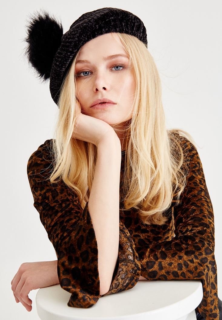 Black Hat With Furry Pompom Detail