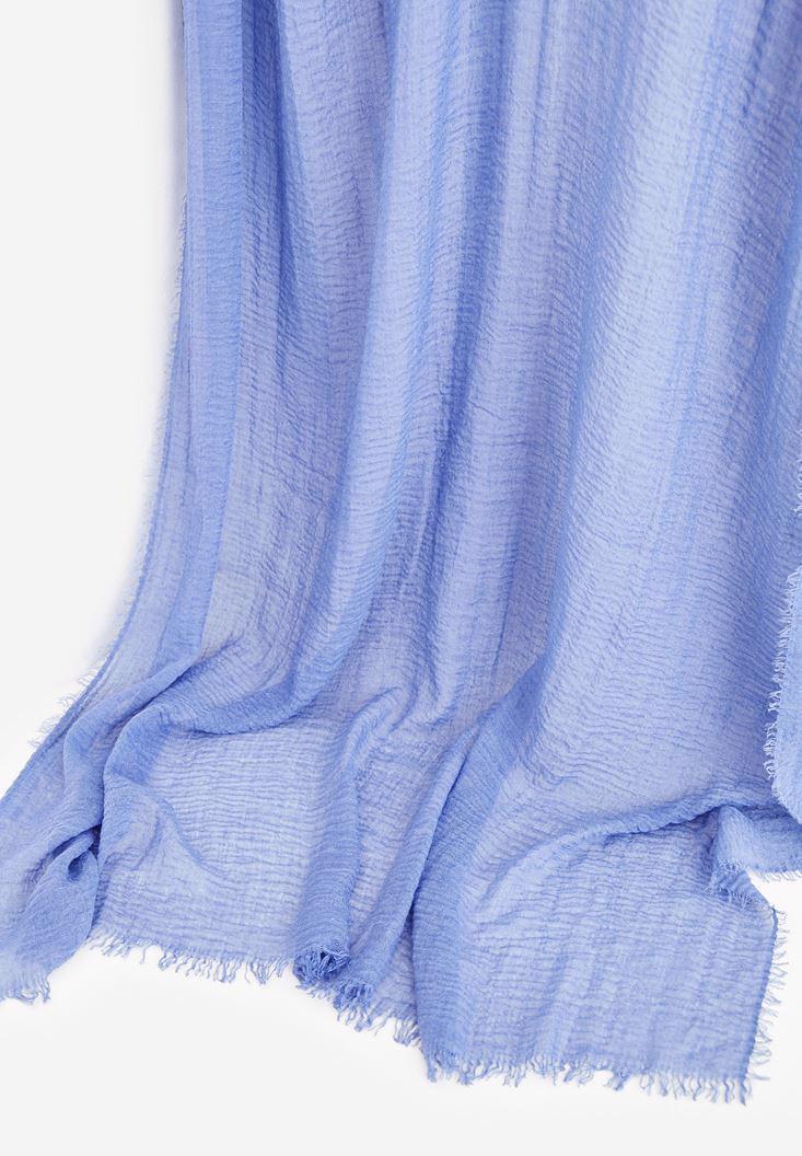 Bayan Mavi İp Detaylı Şal