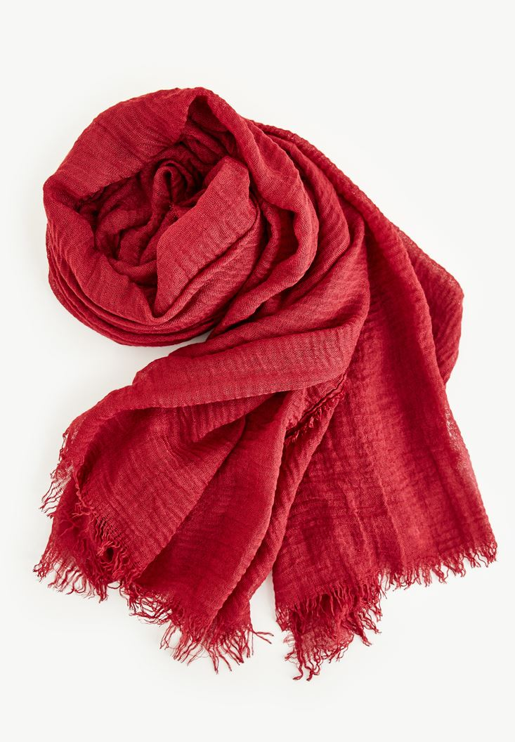 Bordeaux Scarf With Detailed