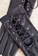 Bayan Siyah İp Detaylı Eldiven