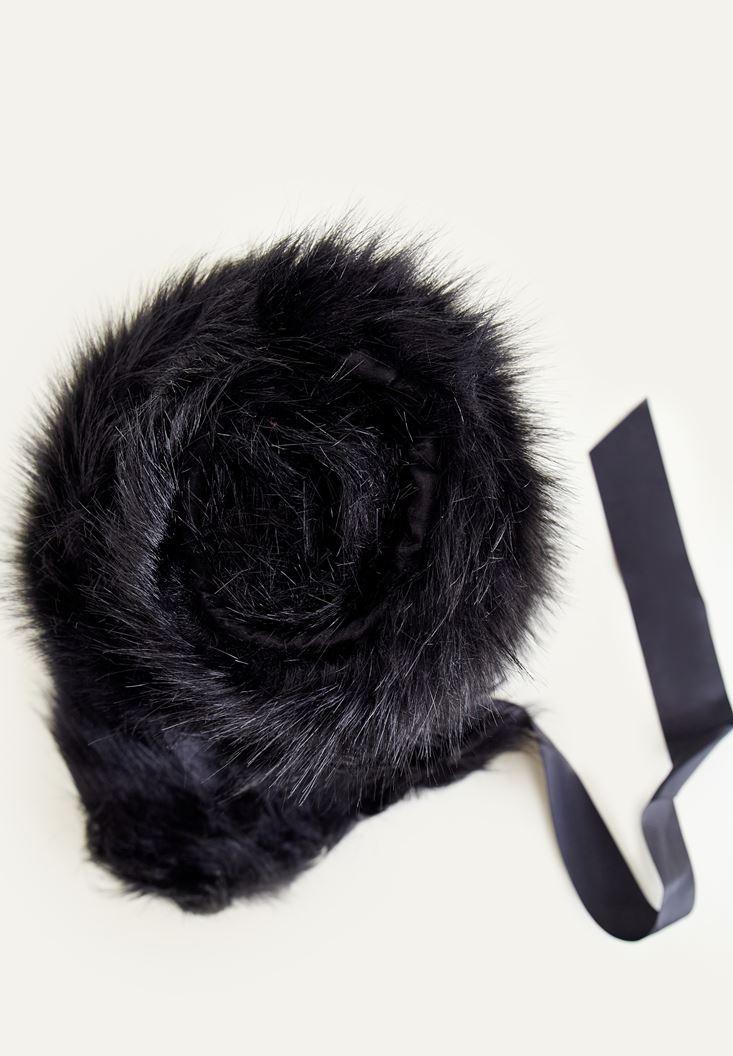 Bayan Siyah Suni Kürk İp Detaylı Şal