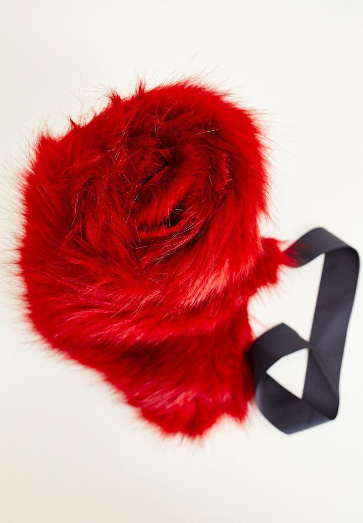 Bayan Kırmızı Suni Kürk İp Detaylı Şal