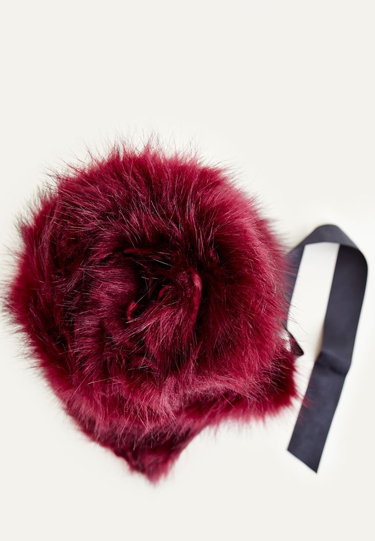 Purple Fake Fur With Laced Detailed