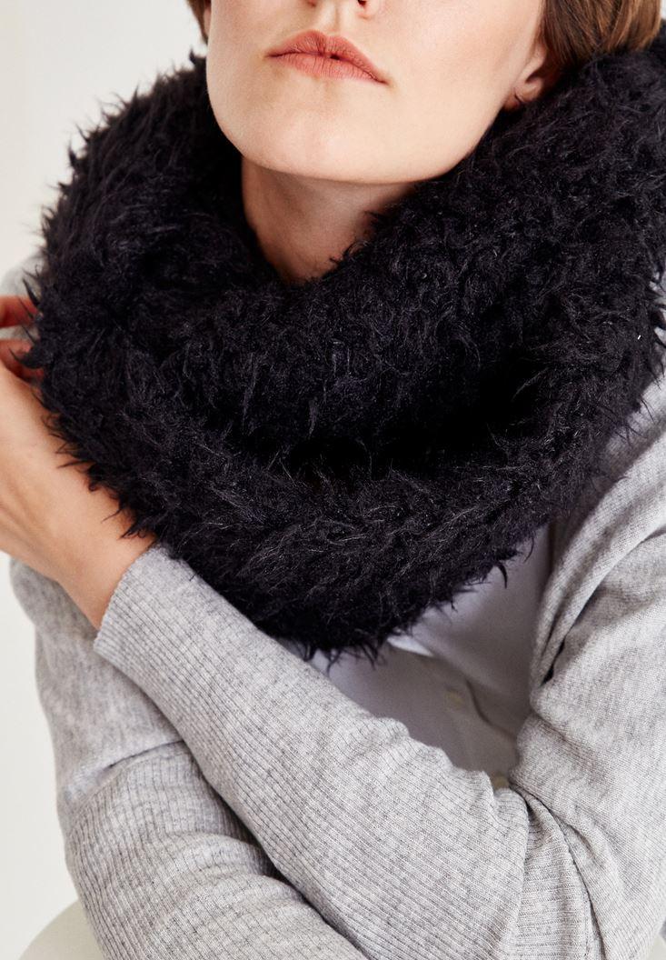 Black Furry Scarf