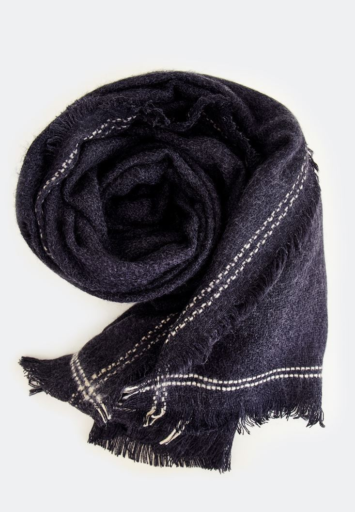 Bayan Siyah Kenarları Çizgi Detaylı Şal