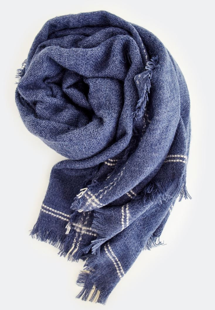 Blue Stripe Detailed With Long Scarf