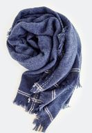 Women Blue Stripe Detailed With Long Scarf