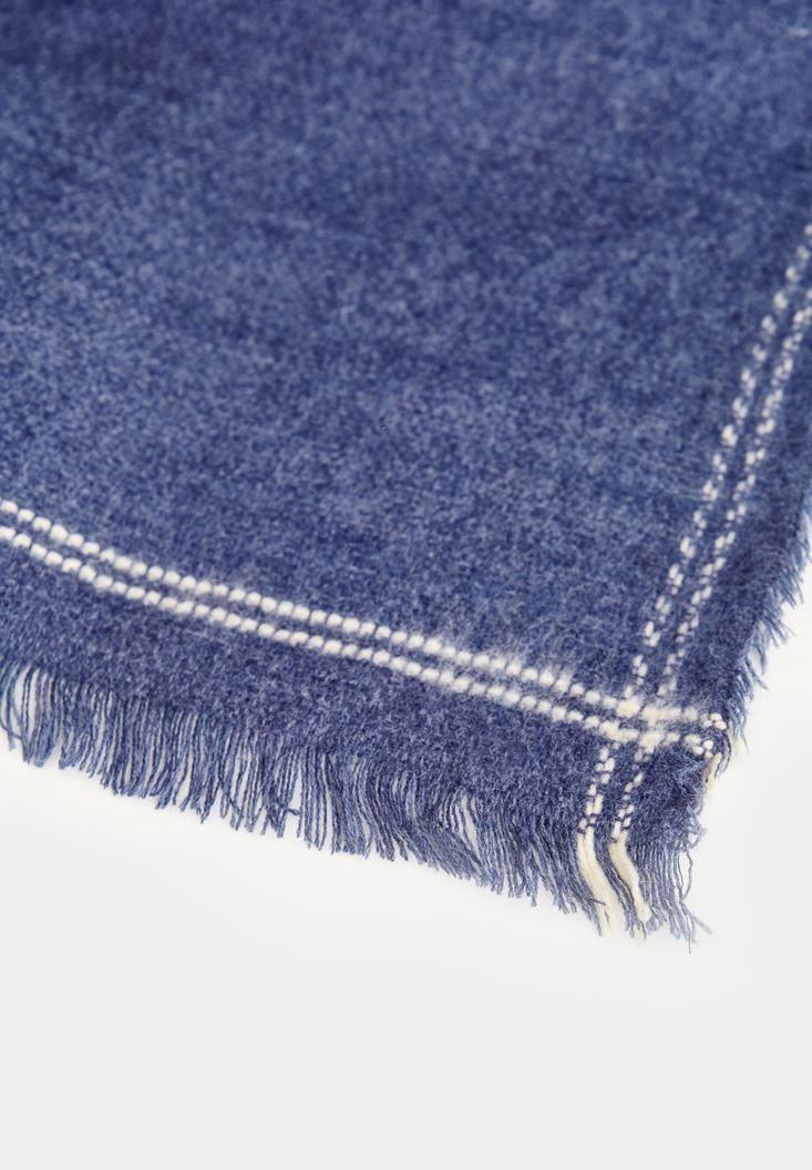 Bayan Mavi Kenarları Çizgi Detaylı Şal