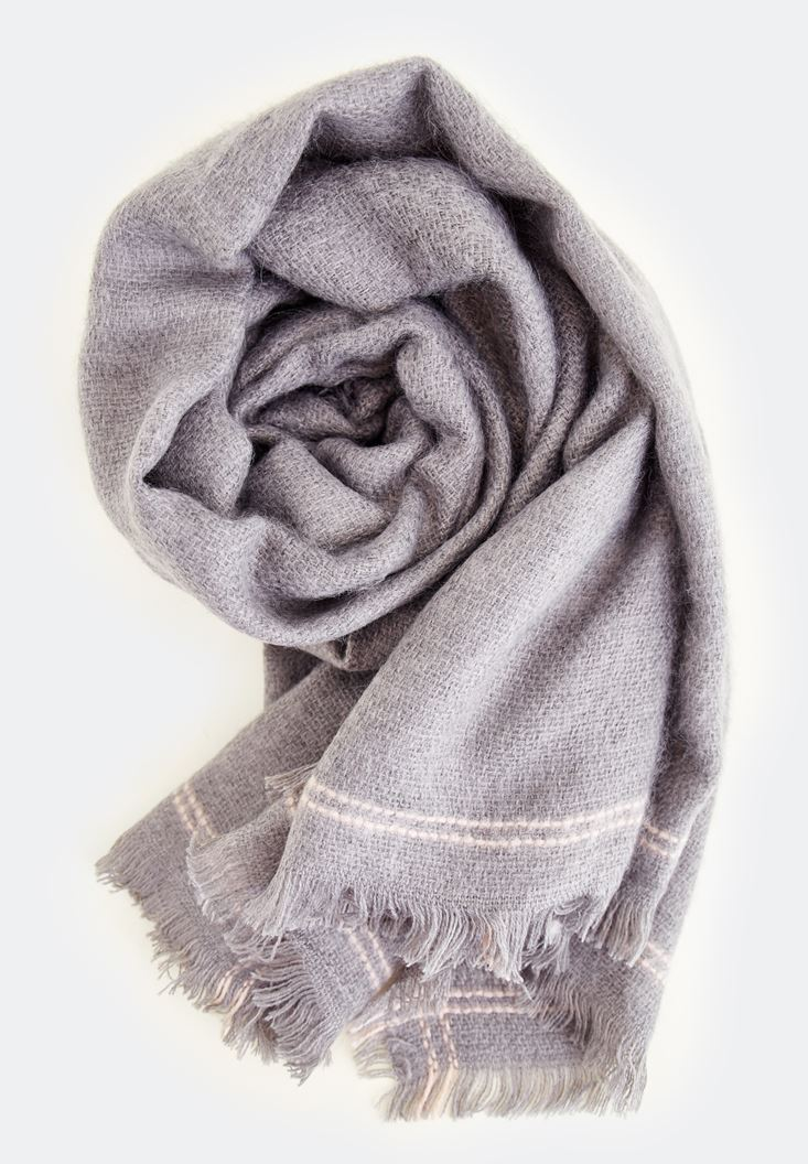 Grey Stripe Detailed With Long Scarf