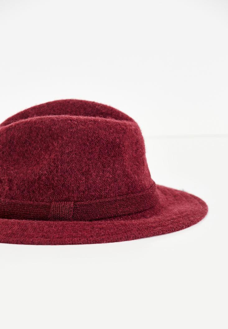 Bayan Bordo Kurdele Detaylı Şapka