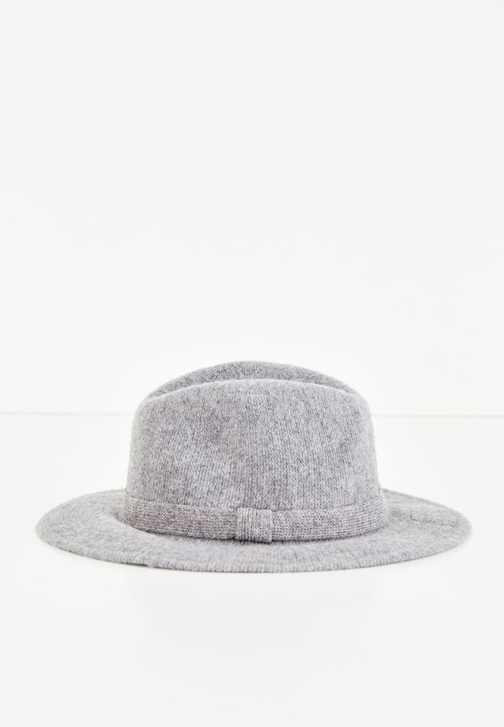 Grey Hat with Ribbon