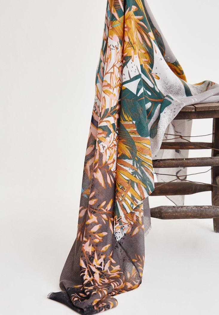 Bayan Yeşil İp Detaylı Çiçek Desenli Şal