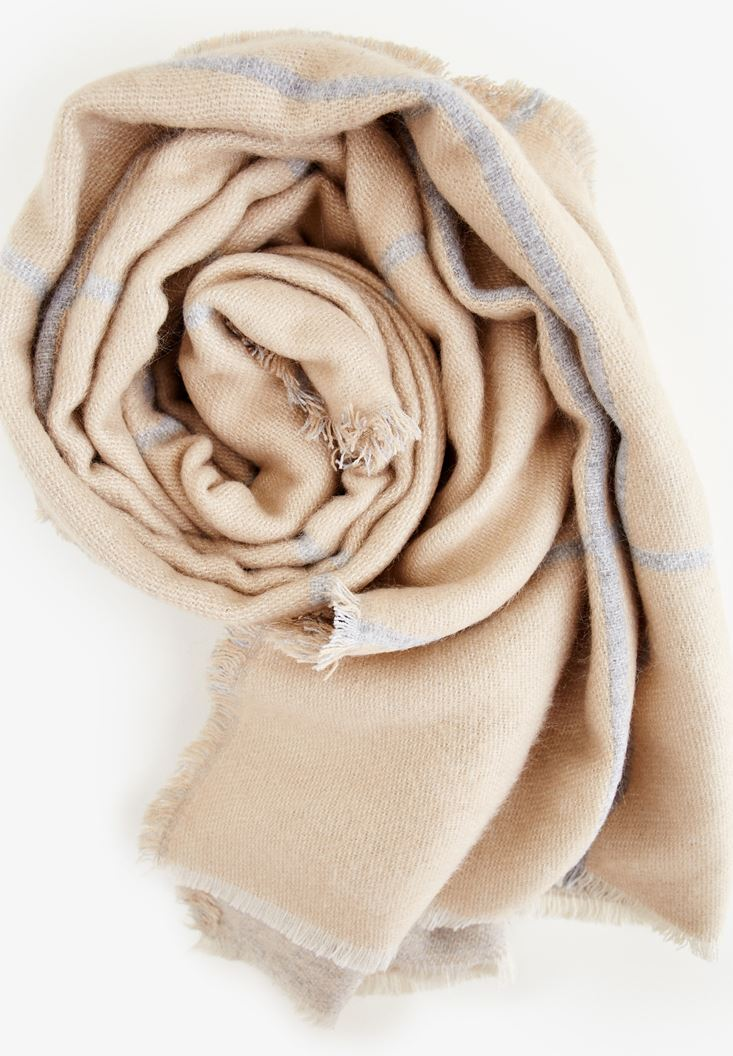 Brown Big Shawl With Line Detail