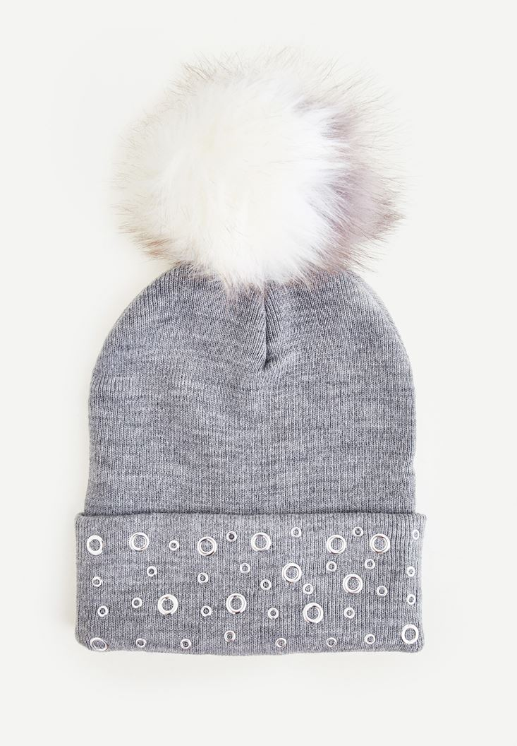 Grey Beret With Pompom and Eyelet Detail