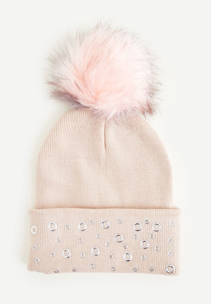 Pink Beret With Pompom and Eyelet Detail