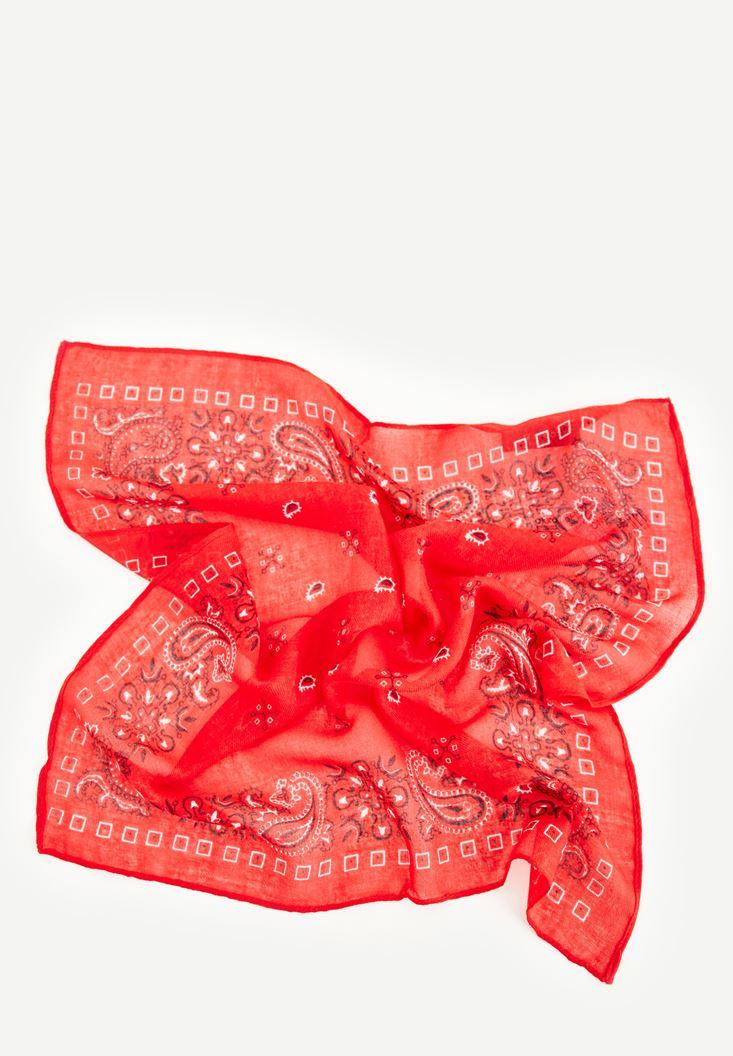 Bayan Kırmızı Western Bandana