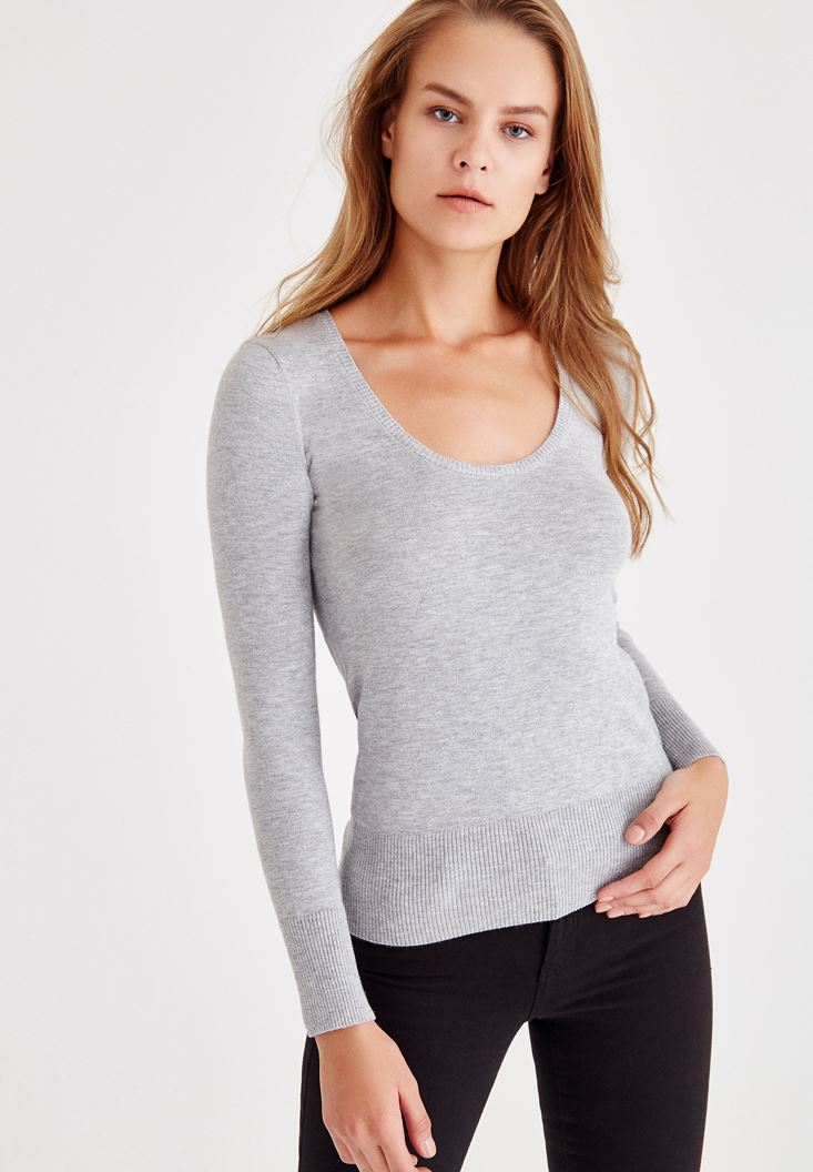 Grey Pullover With U Neck