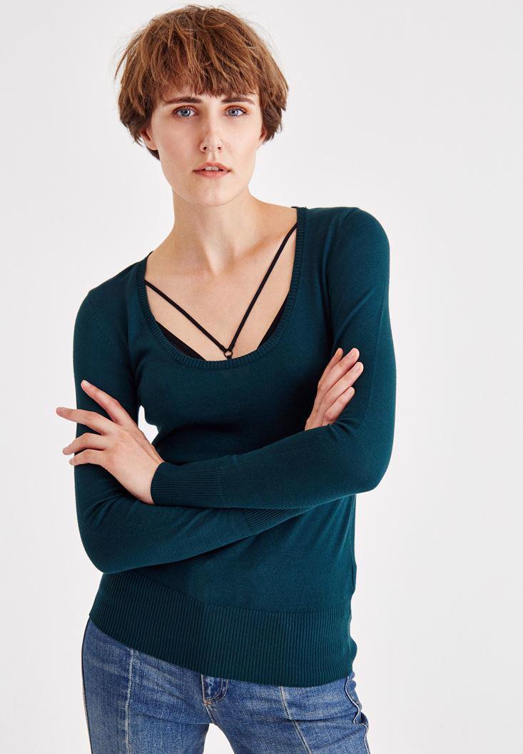 Bayan Yeşil U Yaka Triko Kazak