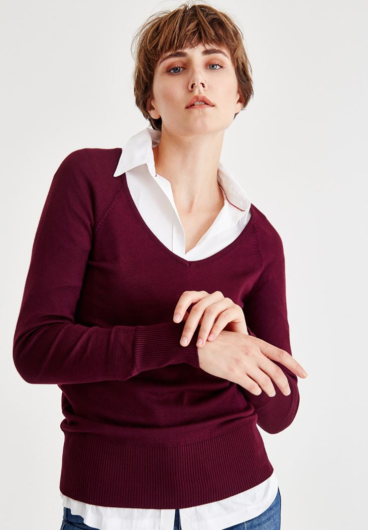 Bordeaux Long Sleeve Pullover With V Neck