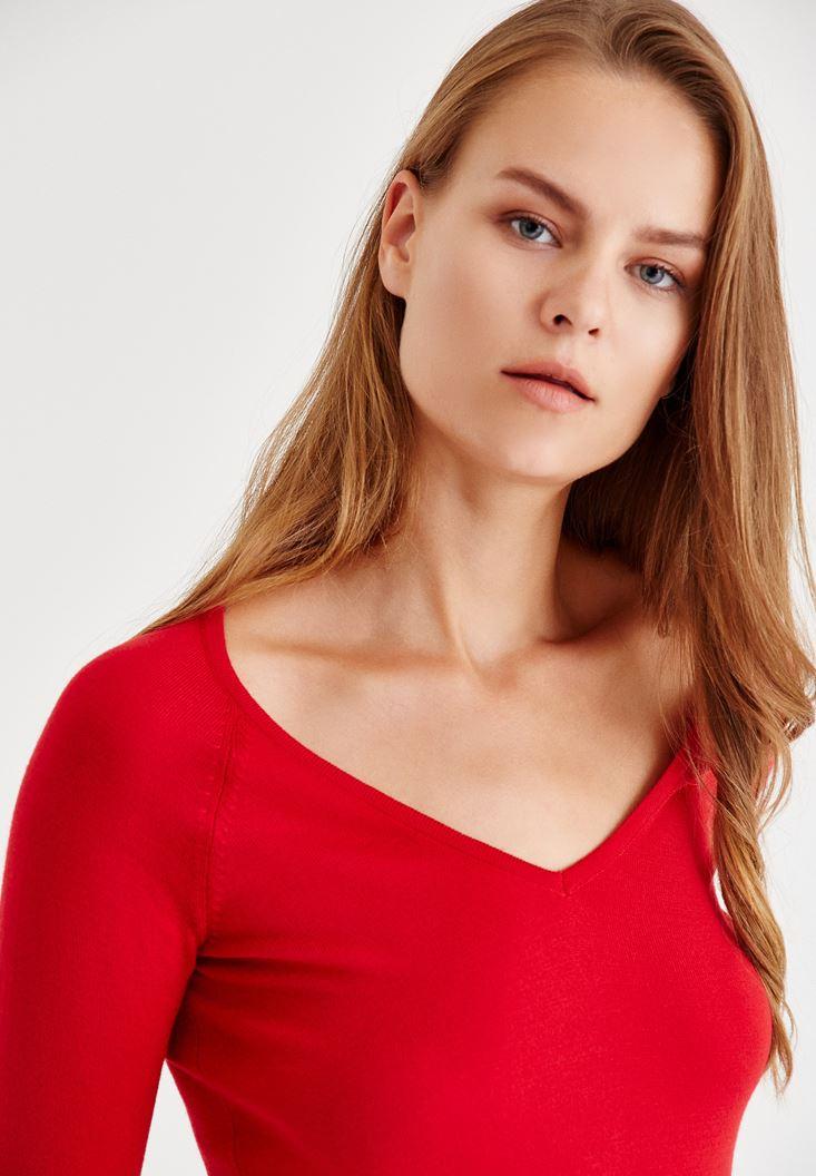 Bayan Kırmızı V Yaka Uzun Kollu Triko