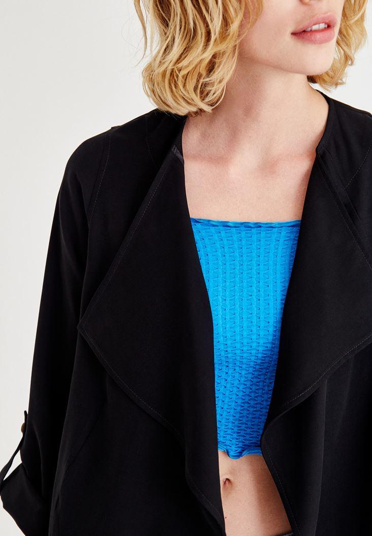 Bayan Siyah Uzun Dokuma Ceket