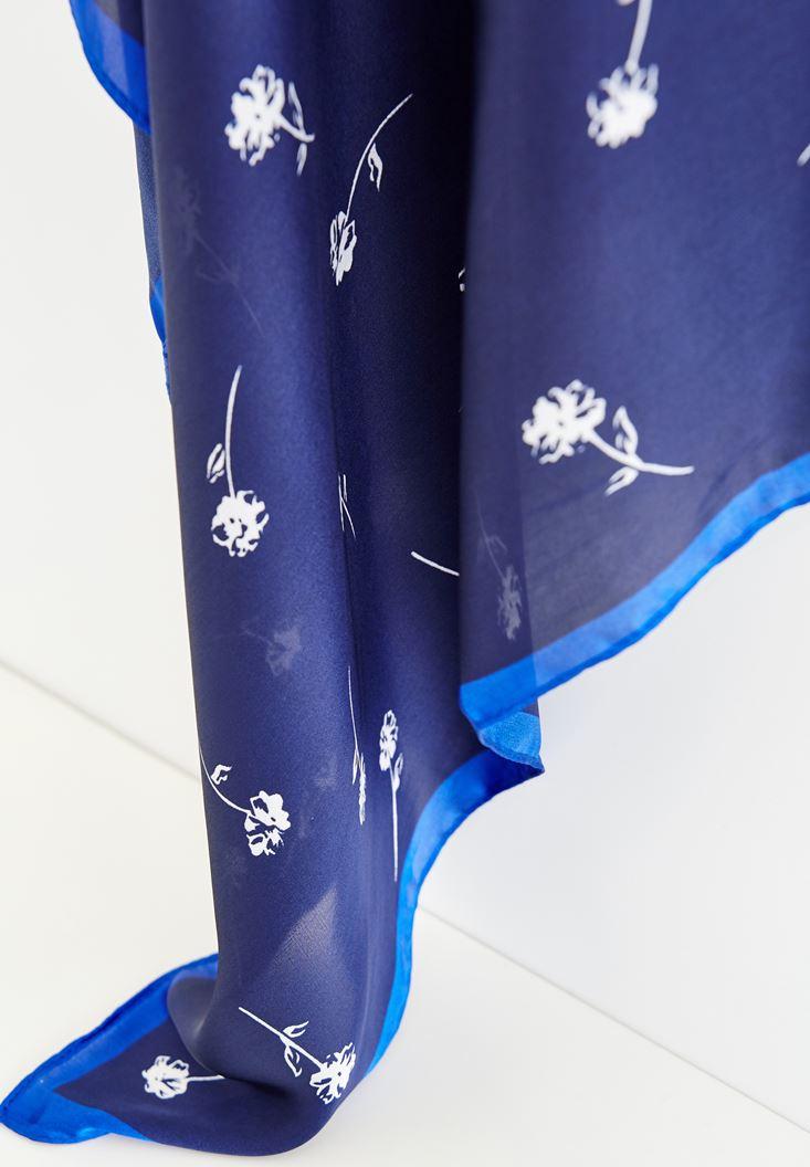 Bayan Mavi Çiçek Desenli Fular