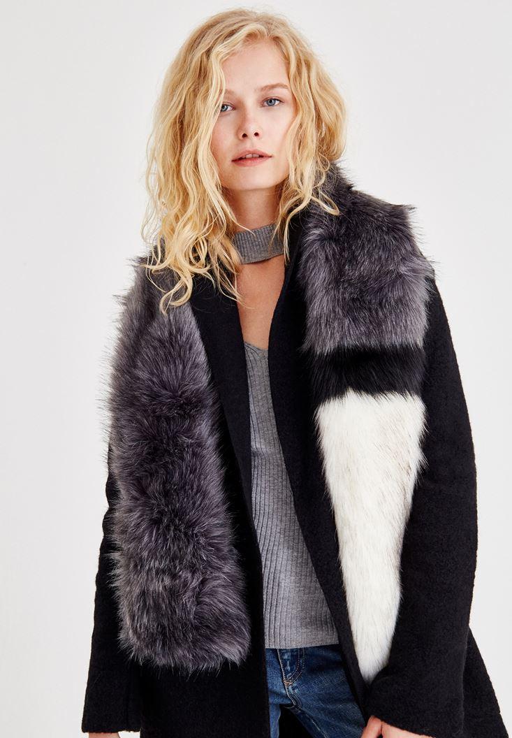 Mixed Fake Fur Block Colors Shawl